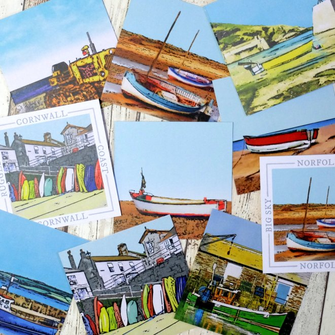 Barley Bay fine art greetings cards coastal cornwall norfolk